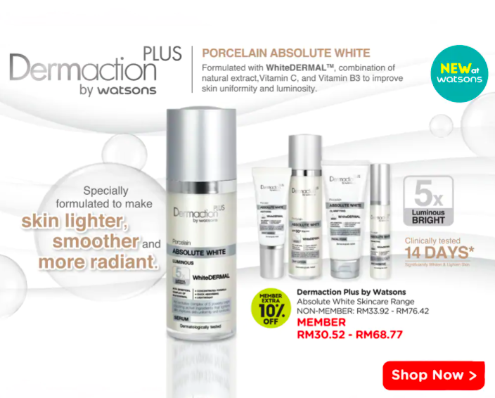 watsons.com.my - Dermaction plus: Member Extra 10% OFF
