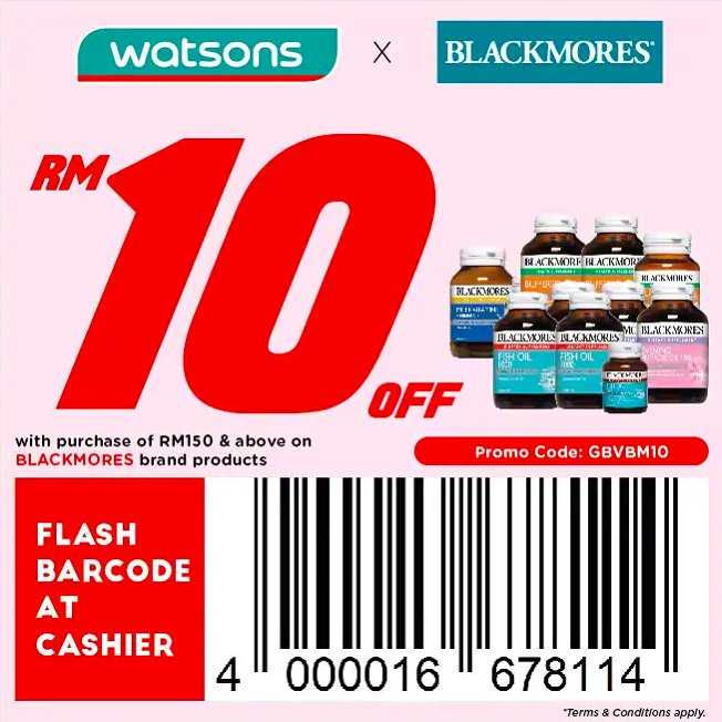 watsons.com.my - Blackmores: RM10 off with purchase of RM150 & above on BLACKMORES