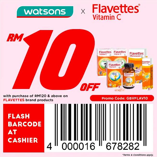 watsons.com.my - Flavettes Vitamin C: RM10 off with purchase of RM120 & above on FLAVETTES brand products