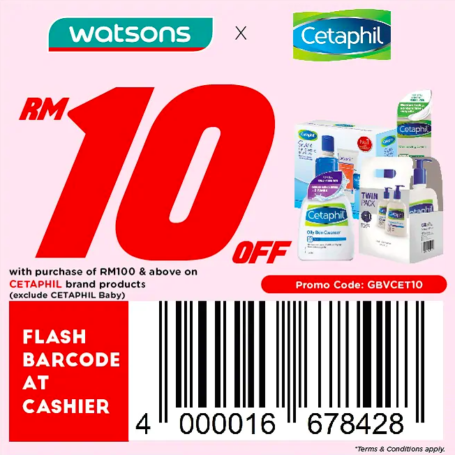 watsons.com.my - Cetaphil: RM10 off with purchase of RM100 & above on CETAPHIL