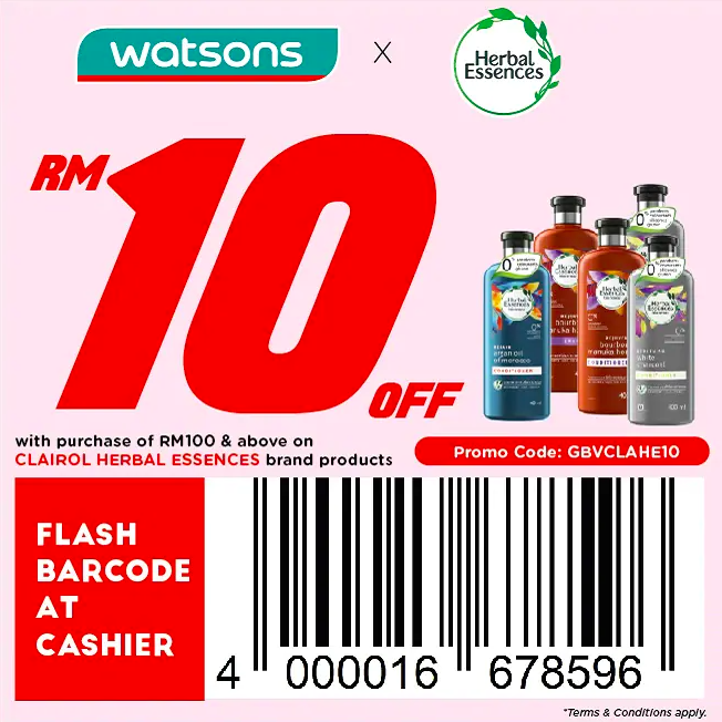 watsons.com.my - Herbal Essences: RM10 off with purchase of RM100 & above on Herbal Essences brand products