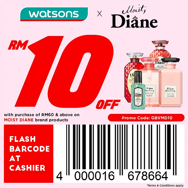 watsons.com.my - Diane: RM10 off with purchase of RM60 & above on Moist Diane