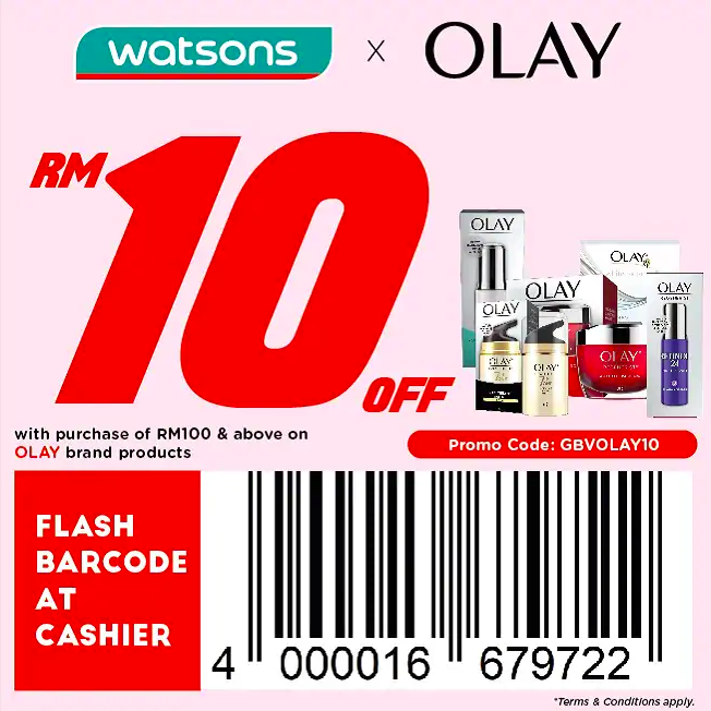 watsons.com.my - OLAY: RM10 off with purchase of RM100 & above on OLAY brand products