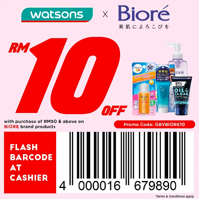 watsons.com.my - Biore: RM10 off with purchase of RM50 & above on Biore products