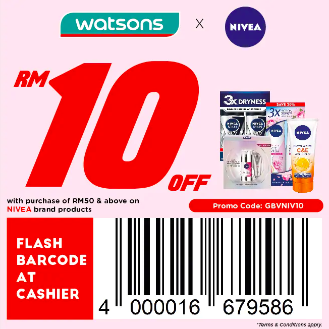 watsons.com.my - Nivea: RM10 off with purchase of RM50 & above on Nivea