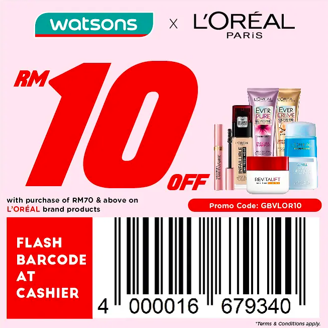 watsons.com.my - Loreal: RM10 off with purchase of RM70 & above on Loreal