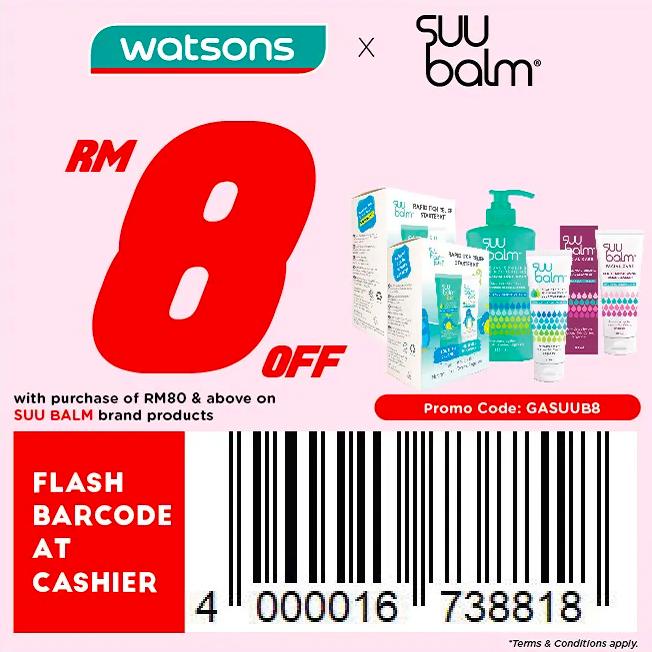 watsons.com.my - SUU Balm: RM8 off with purchase of RM80 & above on SUU Balm