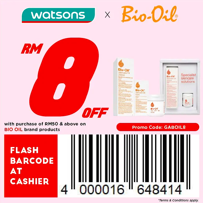 watsons.com.my - Bio Oil: RM8 off with purchase of RM50 & above on Bio Oil