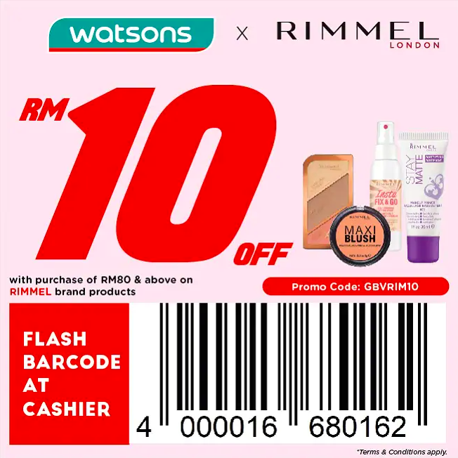 watsons.com.my - Rimmel London: RM10 off with purchase of RM80 & above on Rimmel