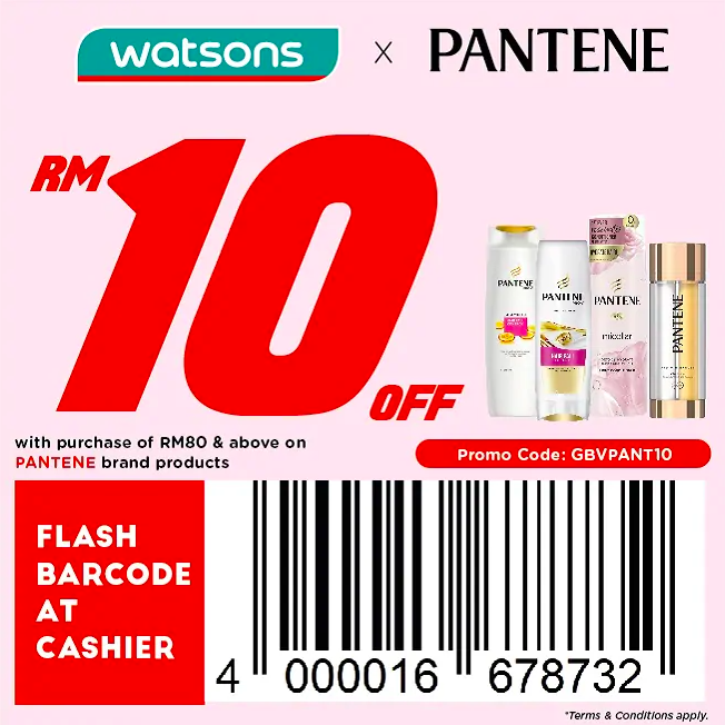 watsons.com.my - Pantene: RM10 off with purchase of RM80 & above on Pantene