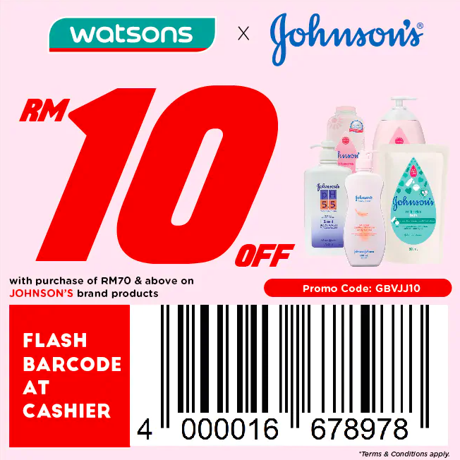 watsons.com.my - Johnson's: RM10 off with purchase of RM70 & above on Johnson's