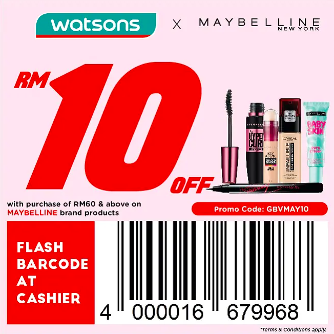 watsons.com.my - Maybelline: RM10 off with purchase of RM60 & above on Maybelline