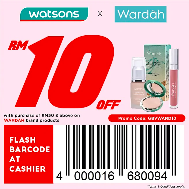 watsons.com.my - Wardah: RM10 off with purchase of RM50 & above on Wardah