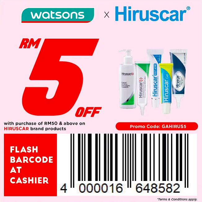watsons.com.my - Hiruscar: RM5 off with purchase of RM50 & above on Hiruscar