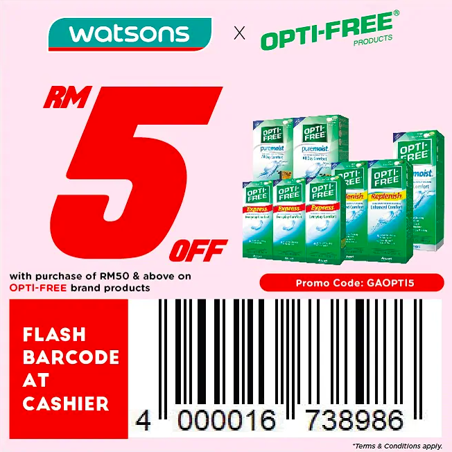 watsons.com.my - Opti-free: RM5 off with purchase of RM50 & above on Opti-free