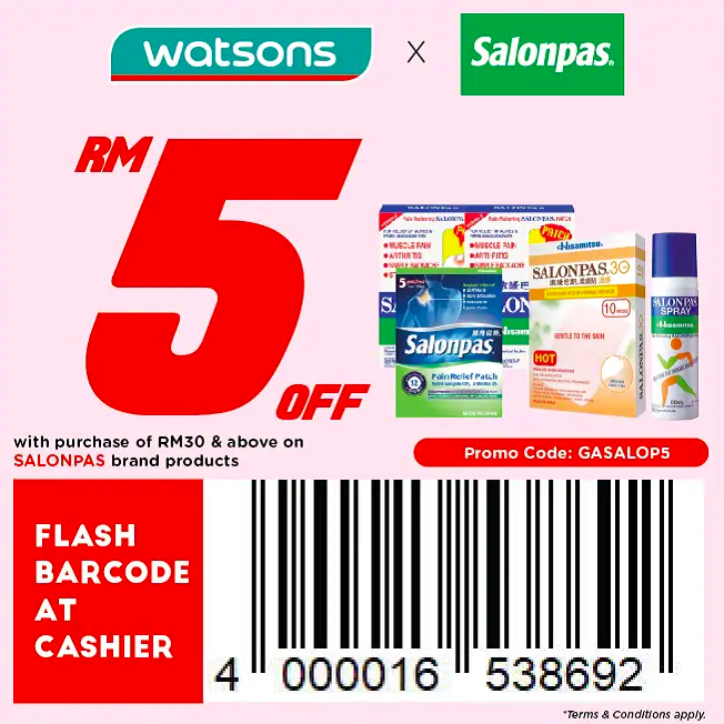 watsons.com.my - Salonpas: RM5 off with purchase of RM30 & above on Salonpas