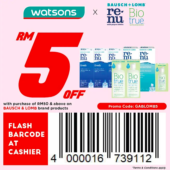 watsons.com.my - Bausch+Lomb: RM5 off with purchase of RM50 & above on Bausch & Lomb