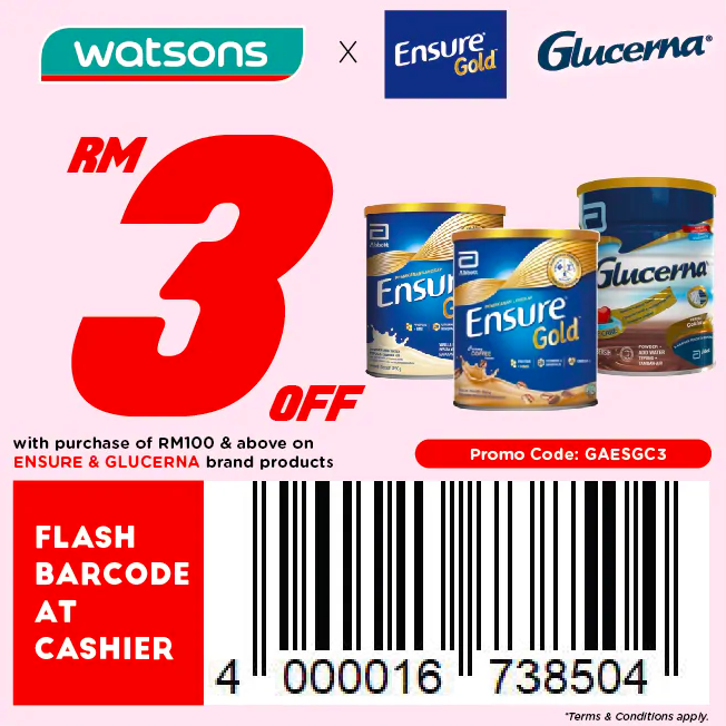 watsons.com.my - Ensure & Glucerna: RM3 off with purchase of RM100 & above on Ensure & Glucerna