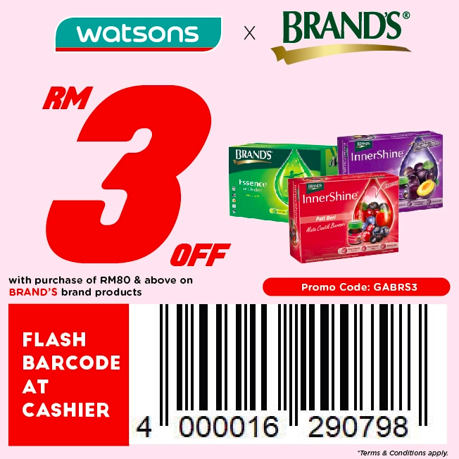 watsons.com.my - Brands: RM3 off with purchase of RM80 & above on Brand's