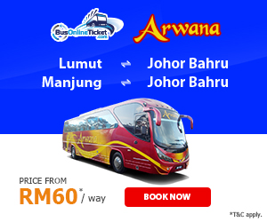 Arwana Express Offers Bus Services Between Johor Bahru, Lumut and Manjung