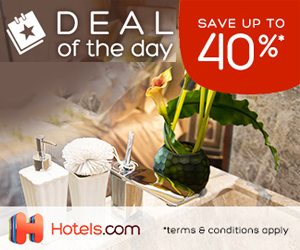 hotels.com - 300×250 – Deals of the Day Save Up To 40%